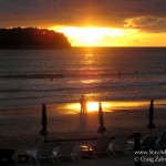 sunset on the surf beach of Phuket. Kata Beach in Thailand.