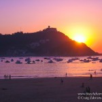 sunset on the beaches of San Sebastian in Spain.