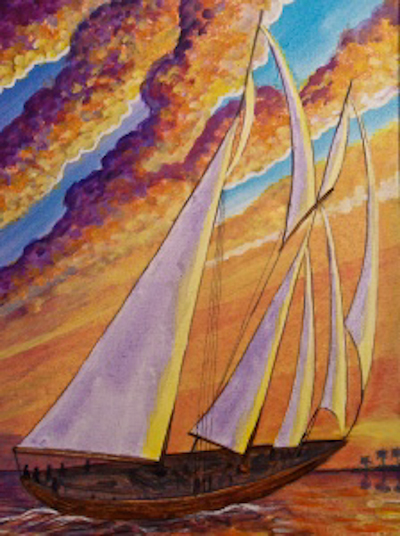 salkehatchie art center painting by Saint of a sunset sail