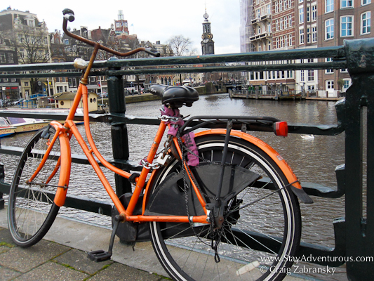 an Orange Bicycle in Amsterdam, Holland