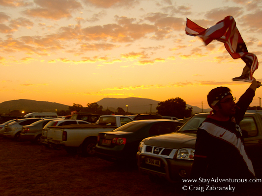 A USA flag during sunset at the world cup match in rustenburg, south africa