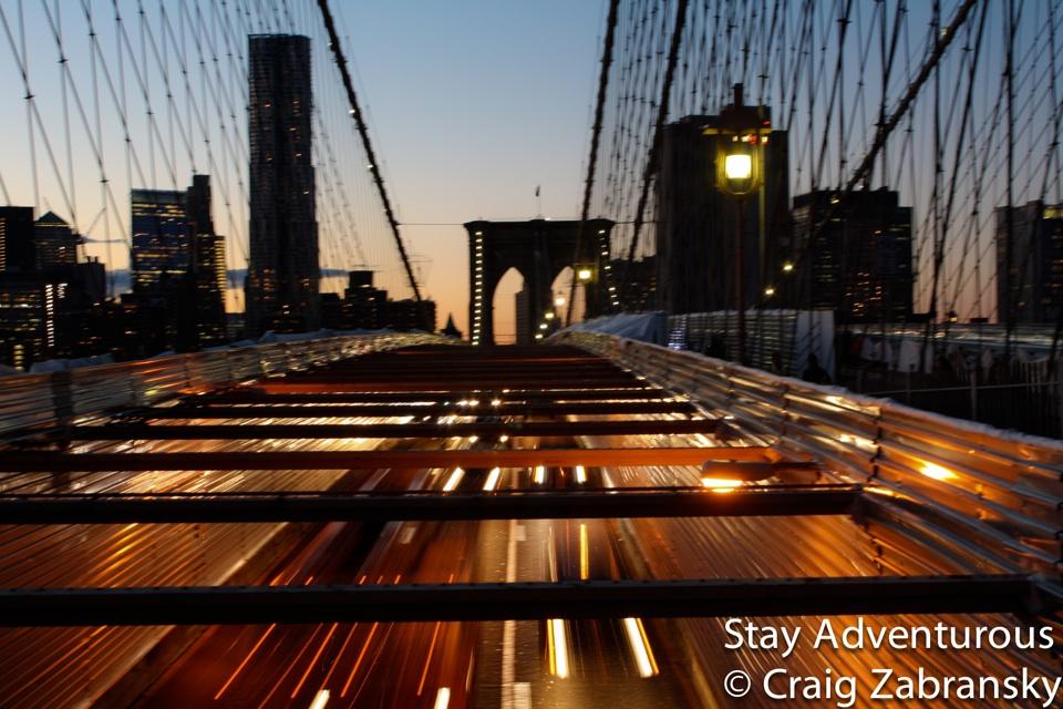 sunset walk on the brooklyn bridge