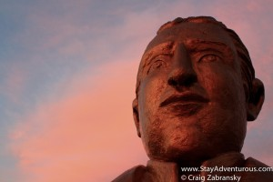 Statue at Sunset in Fort San Basilio, San Blas Mexico