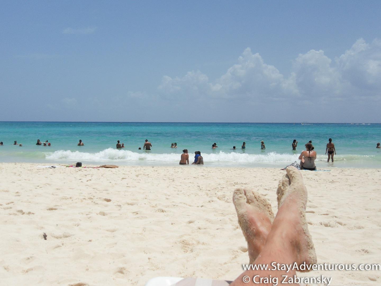 kicking back at mamitas beach club in playa del carmen, mexico