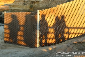 sunset reflection on a fence in La Jolla, California
