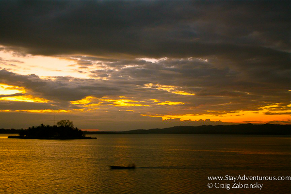 sunset from il terrazzo in Flores, Guatemala with a view of Lake Peten