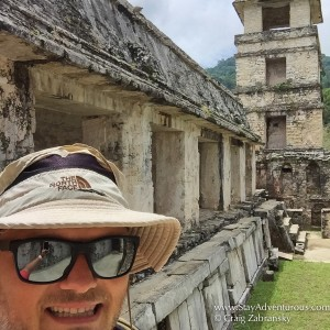 selfie when walking the Mayan ruins of Pakenque in Chiapas, Mexico