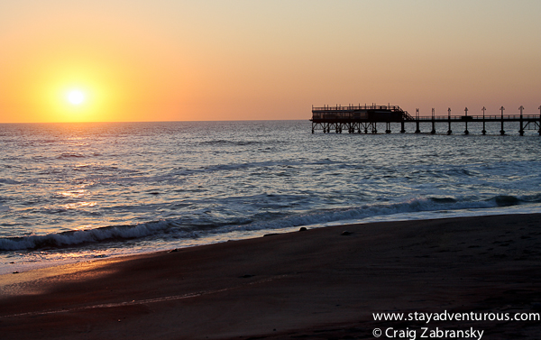 sunset on the beach of Swakopmund, Namibia