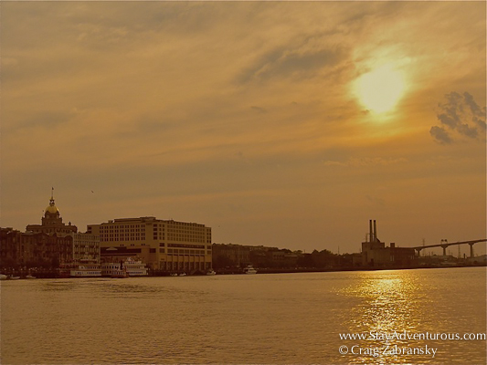 sunset on the Savannah River in Savannah, Georgia
