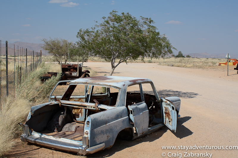 the view of the cars in solitaire namibia