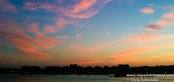 Sunset on the Hudson River on the 4th of july, New York City