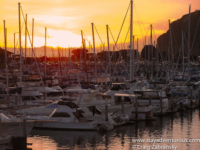 sunset at the marina in Dana Point, California