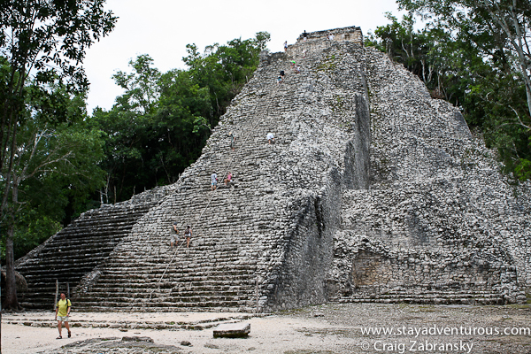 the Coba Pyramid you can climb - Nohoch Mul, inside the mayan ruins at Coba, Riviera Maya or Q. Roo.