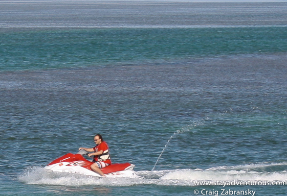 on a jet ski in the Florida Keys