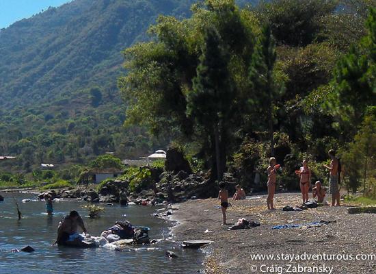 the shore along lake atitlan near san pedro, guatemala