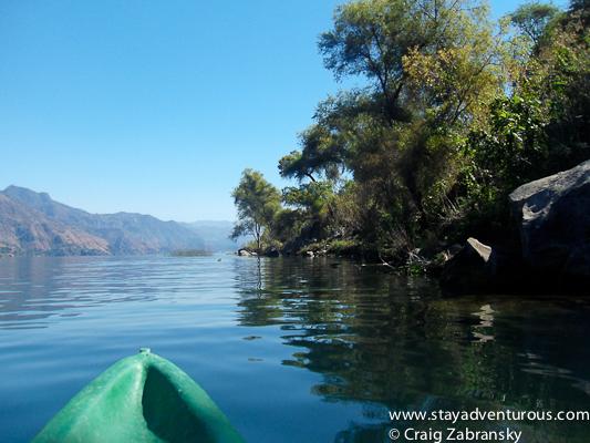 kayak on lake atitlan, guatemala