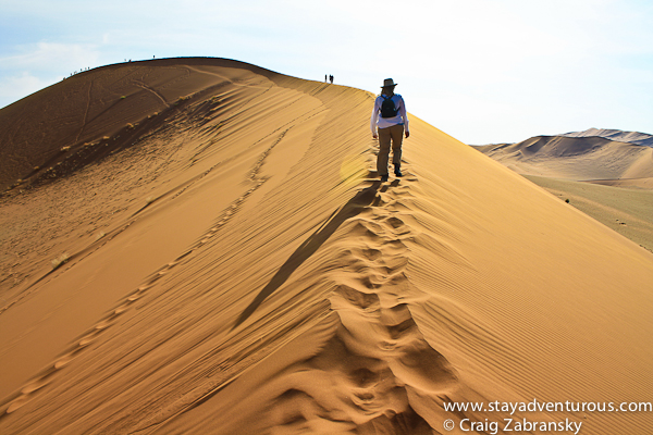 hiking the red sand dunes of sossusvlei namibia