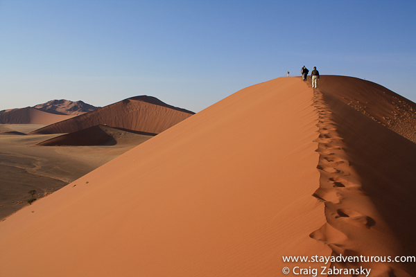 A hike on Sand Dune 45 in Sossusvlei Namibia
