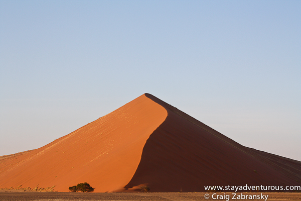 perfect sunrise at the red sand dunes in sossusvlei namibia