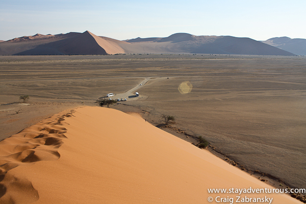 looking down from sand dune 45, sossusvlei namibia