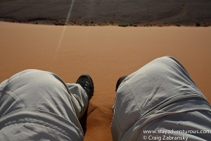 about to run down sand dune 45 in sossusvlei