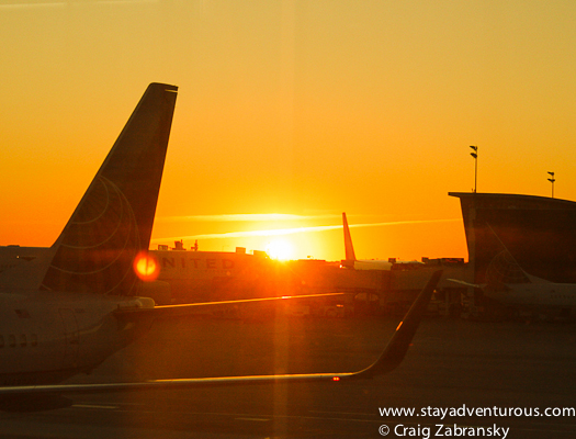 sunset at Houston Airport, IAH.