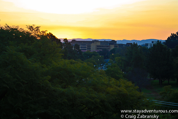 sunset from the Sheraton Pretoria outside patio in South Africa