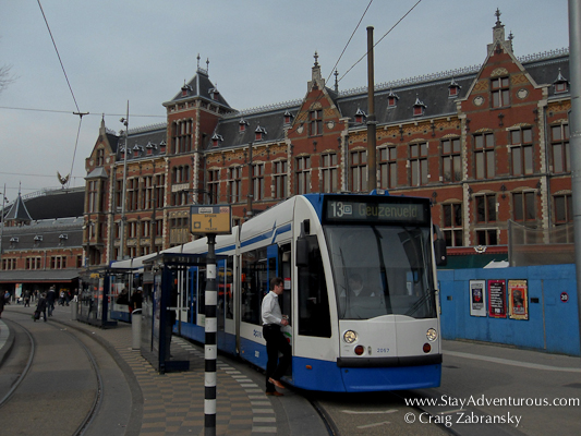 the Tram at Central Station Amsterdam