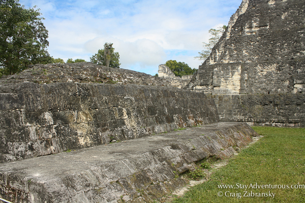inside the mayan ball court at Tikal in Guatemala