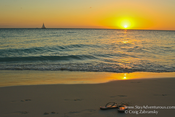 sunset on eagle beach in aruba