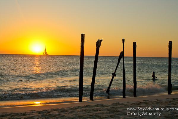 sunset on eagle beach in Aruba