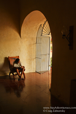 Sitting down at the San Bernardino Convent in Valladolid