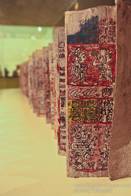 view of the Dresden Codex at Museo Popol Vuh in Guatemala