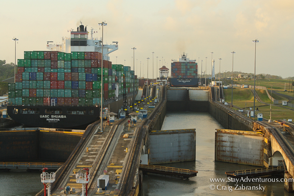 the Gatun Lock opens, Panama Canal