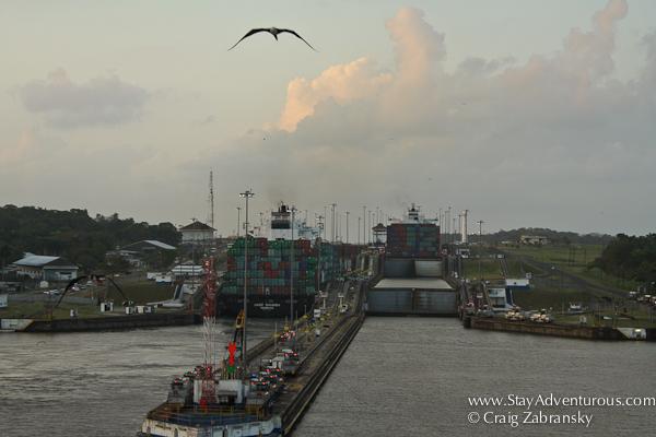 approaching the gatun locks, panama canal