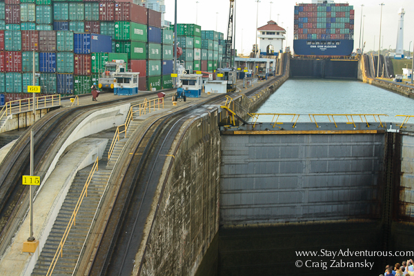 inside the Gatun Locks of the Panama Canal