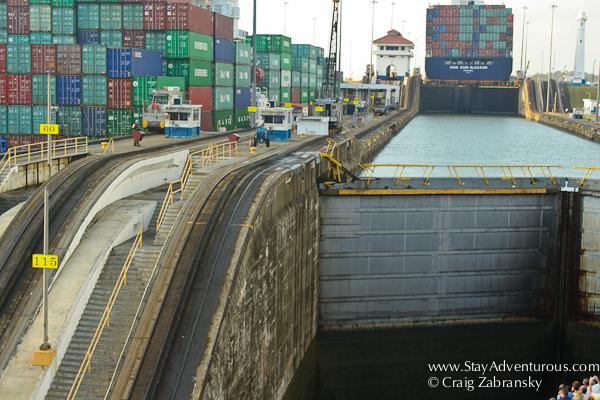 inside the Gatun Locks of the Panama Canal