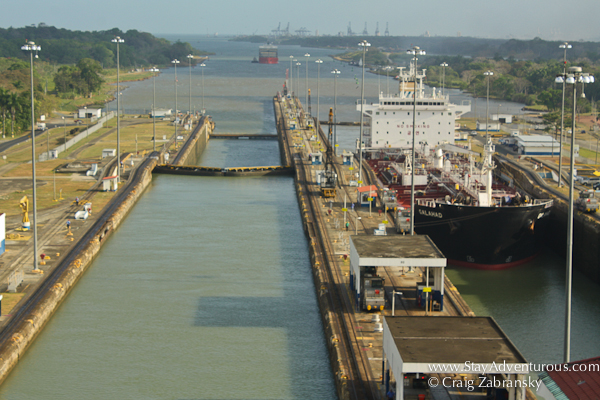 view of the gatun locks of the panama canal from the aft of the ms Zuiderdam