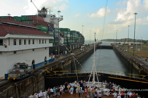 viewing the Gatun Locks of the Panama Canal from aboard the Holland America ms Zuiderdam