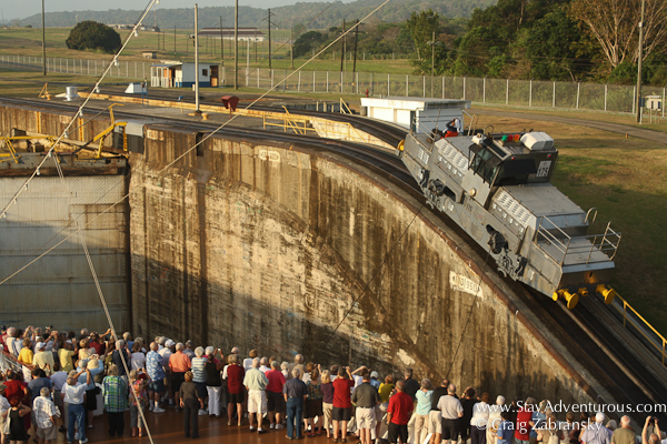 the mule in action at the gatun locks, panama canal