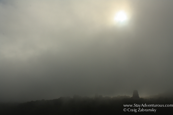 the sun shines through the fog in tikal, guatemala