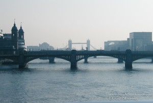 View of the Tower Bridge in London along the Thames River