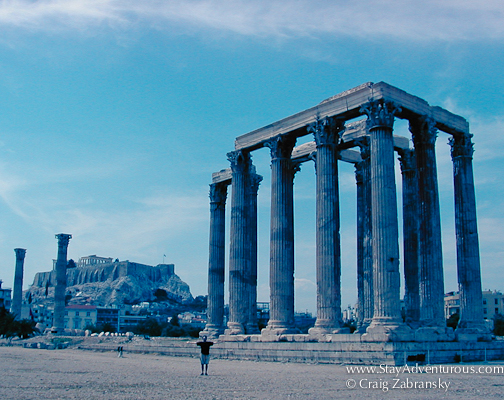 standing beside the temple of zeus in Athens, Greece