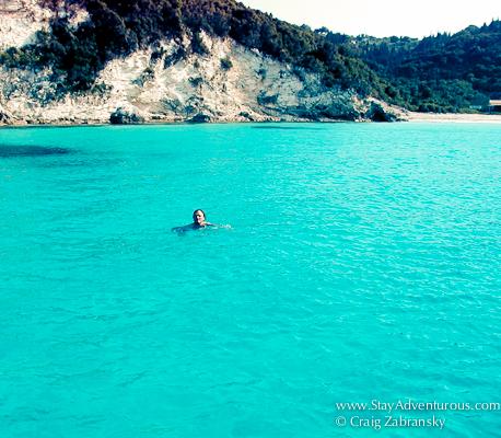 Craig Zabransky taking a swim in the Ionain Sea