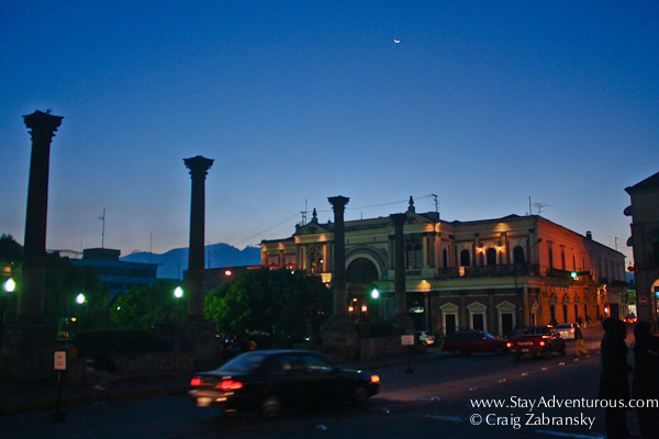 oarque central in quetzaltenango at dusk