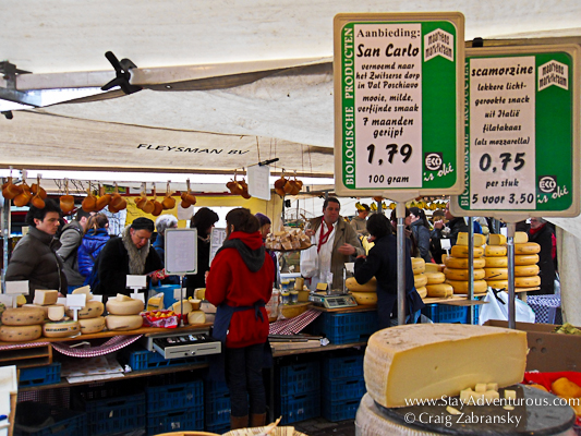 say cheese at the farmer's market in Norrdermarkt Amsterdam
