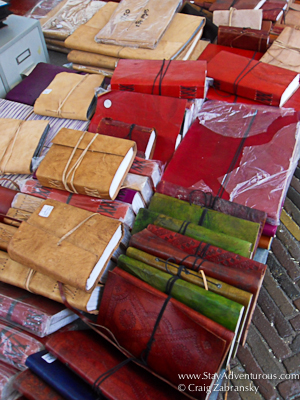 leather journals at the Noordermarkt Flea Market