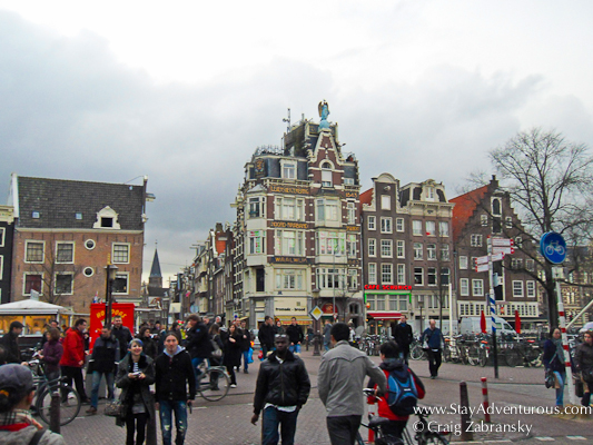 walking the streets and squares of Amsterdam, Holland