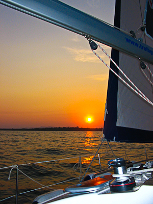 sunset sail on the Black Sea of Bulgaria