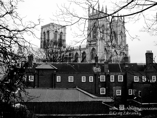 View of York Minster from the Wall in Black and White